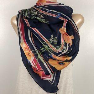 Dana Buchman Navy Multi Stripe Floral Scarf